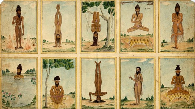 Ten ascetics performing tapas - yoga and tantric postures and penance
