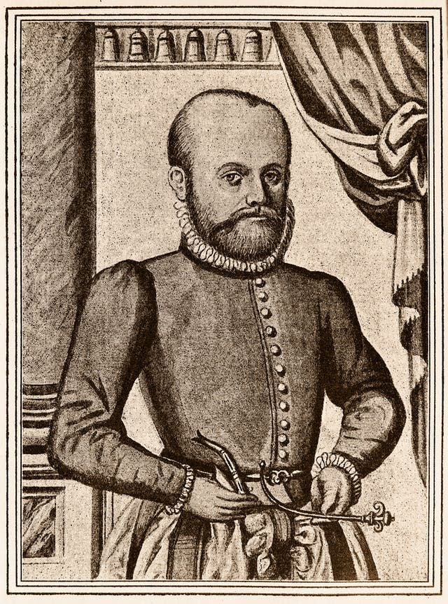 Portrait engraving in a 16th century book showing a man with a beard, wearing clothes of the period, holding two pieces of apparatus.
