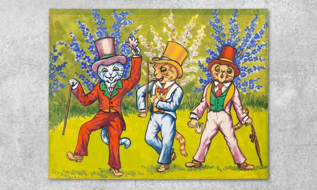 Photograph showing a work of art against a grey concrete textured background. The artwork shows three cats wearing top hats, waistcoats and suits, holding sticks or an umbrella, and performing on a lurid green lawn with blue and grey bushes in the background.