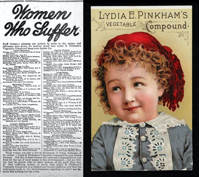 "Left is a newspaper advertisement titled ""Women Who Suffer"", right is a trade card featuring a young girl wearing a red hat, both advertising Lydia E. Pinkham"
