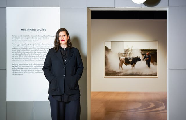 Photographic portrait of Laurie Britton Newell in the exhibition, Somewhere in Between at Wellcome Collection.