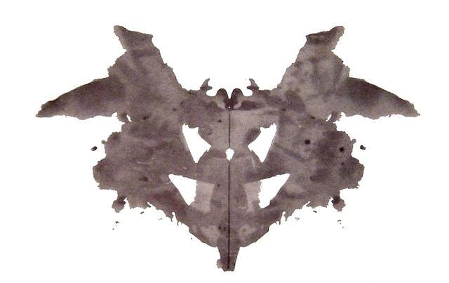 A greyish-black symmetrical inkblot.