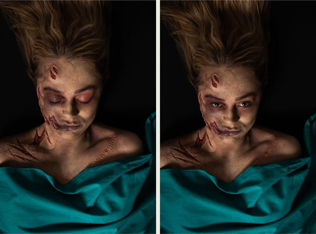 Photographic diptych. The image on the left shows the head and shoulders of a woman lying on her back on a black background. Her chest is covered with a green surgical sheet. She has her eyes closed and her blond hair falls back onto the tabletop. She has prosthetic makeup applied which creates the realistic effect of the left side of her face, neck and shoulders having been slashed with a knife. The makeup reveals the layers below the skin. On the right side by her shoulder there is makeup which creates the impression of a long surgical cut which has been stitched up. The image on the right is exactly the same only the woman