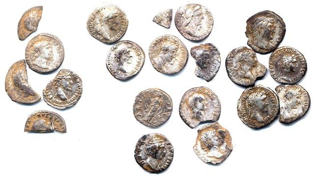 Colour photograph of a hoard of silver Roman coins.