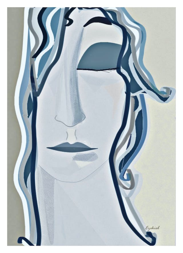 Digital artwork depicting a female face from the base of her neck to the middle of her forehead. The figure has her left eye closed and her right eye is covered by her hair which falls down over her cheek. The artwork is constructed with blue, grey and putty coloured lines and shades. To the right of the artwork is the signature,