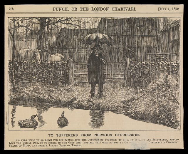 Photograph of a wood engraving from a 1869 newspaper, showing a depressive man holding an umbrella, standing by a country pond in the pouring rain. Beneath the engraving is the title, 'To sufferers from nervous depression'.