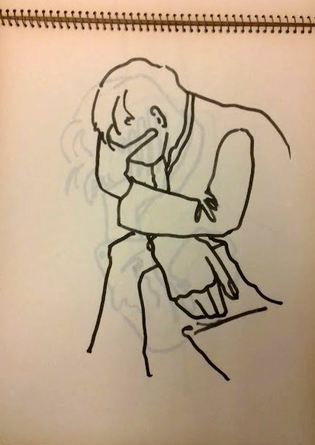 Sketch of a man sitting with his head in his hand by Edward Adamson.