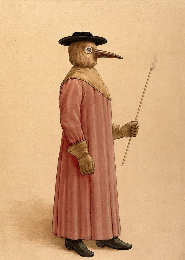 Watercolour painting of a figure wearing a long pink robe, brown gloves and hood with a beak. They wear a black hat and holding a thin stick with fumes coming off the top.
