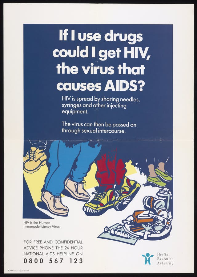 HIV  and drugs advice poster from the Health Education Authority, including a helpline telephone number.