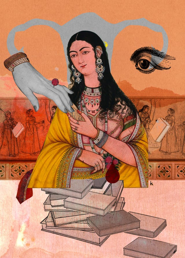 Mixed media digital collage on a pink and orange textured fabric and watercolour background.  A regal South Asian woman is touching fingers with a hand that appears to be coming from the location of the left ovary of female reproductive system.  The right ovary has been replaced with an eye.  Below her are books that symbolise knowledge and education.