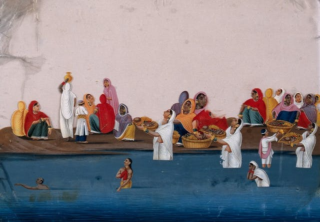 Indian painting of people bathing in a river wearing bright saris and carrying baskets of fruit.
