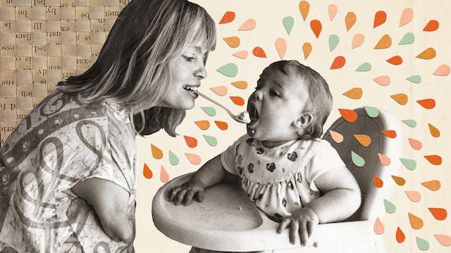 混合媒体艺术作品由档案照片,档案传单和剪切彩色形状。该图像显示了一张黑白棕褐色的照片,被调整的照片被切除出原始场景。这张照片显示了一位母亲喂养她的幼儿,坐在高椅子里。母亲正在使用嘴里举行的一勺食物喂孩子。由于她怀孕的时候,母亲是她母亲在母亲被规定的沙利度胺出示的武器。幼儿向前倾身,嘴巴张开,准备从勺子吃饭。左边的左边是一个三维格子编织档案传单。这个词是争叫的,但它给出了纹理感。从母亲辐射出来