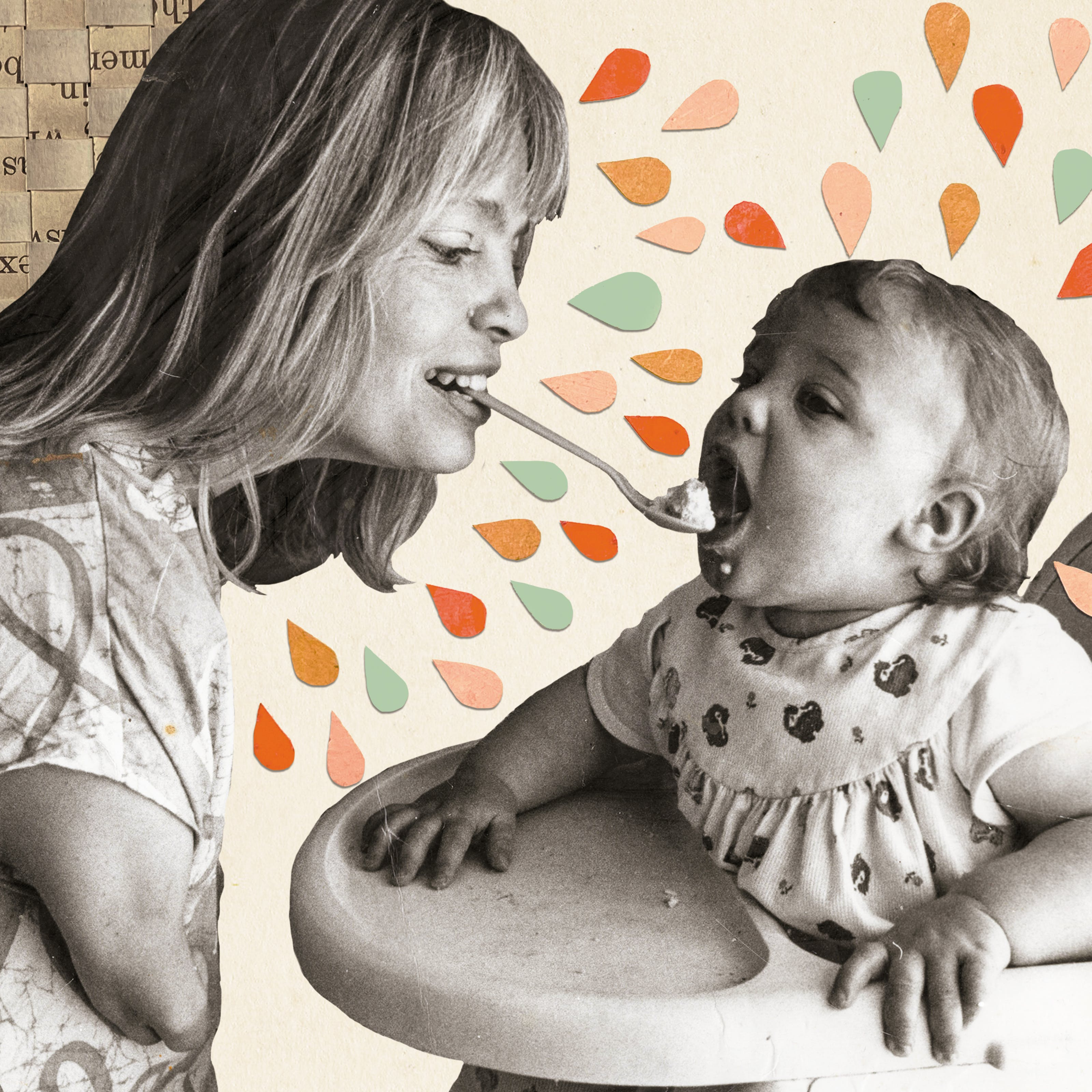 Mixed media artwork made up of an archive photograph, archive leaflets and cut out coloured shaped. The image shows a black and white sepia toned photograph which has been cut out of its original scene. The photograph shows a mother feeding her young child who is sat in a high chair. The mother is feeding the child using a spoon of food held in her mouth. The mother has short arms as a result of her mother being prescribed thalidomide when she was pregnant. The young child is leaning forward, mouth open, ready to eat from the spoon. Behind the mother to the left is a three dimensional lattice weave of an archive leaflet. The word are scrambled up but it gives a sense of texture. Radiating out from the mother's head and the child's head are droplet shaped pieces of card, resting on top of the cream background of the image. These droplets are orange, light green, pink and mustard colours. They add a sense of energy, action and joy to the image.