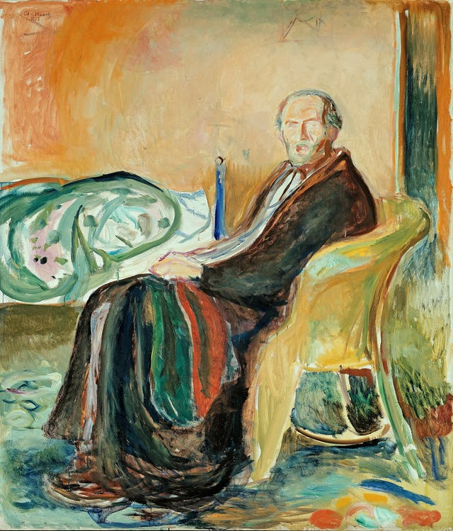 A self-portrait of Edvard Munch sitting in a chair with his bed in the background.