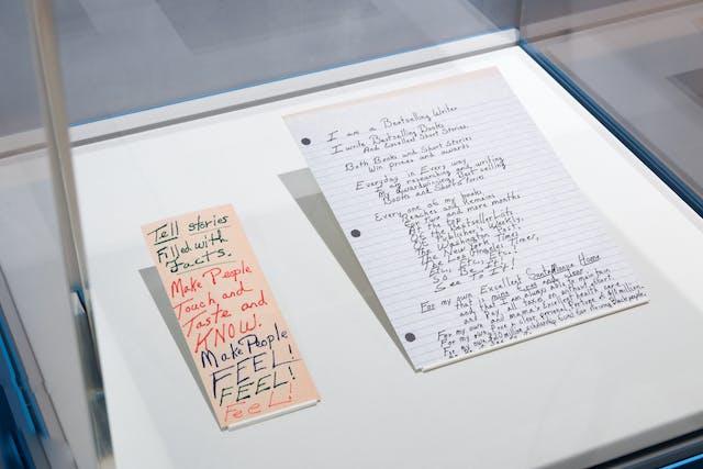 展示玻璃展示柜的照片,显示两个纸展品在展示柜底座上以一定角度升起。左边的纸是橙色的,又长又薄。上面写着: