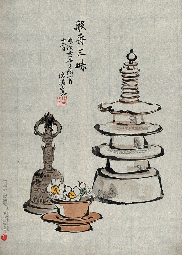 Woodcut image of three objects of Buddhist contemplation: a miniature stupa, a buddhist hand bell and a bowl with blossoms.