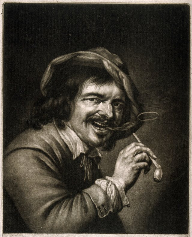 Monochrome mezzotint of a man holding a tobacco pipe and blowing a smoke ring.