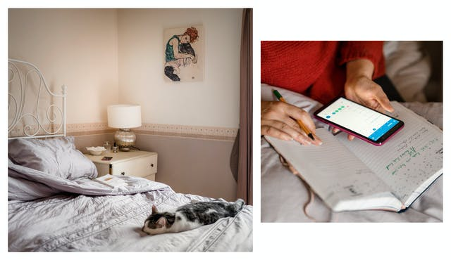 Photographic diptych showing a bedroom with a cat asleep on the bed, on the left and a close-up of hands holding a smartphone, a pen and a note book on the right.