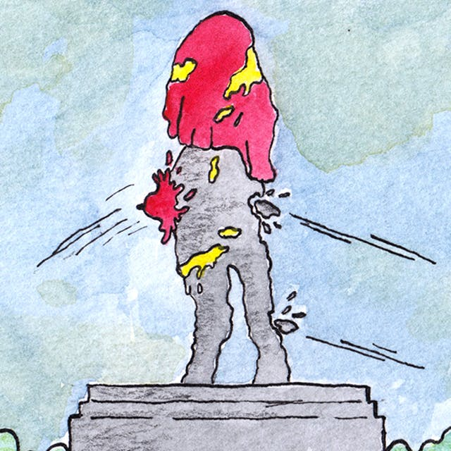 Detail from Statues comic by Rob Bidder showing a statue being pelted with various items.