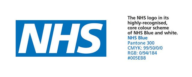 NHS logo with key information as per the NHS England style guidelines, with the logo accompanied by Pantone, CMYK, RGB and hex references for the colour.