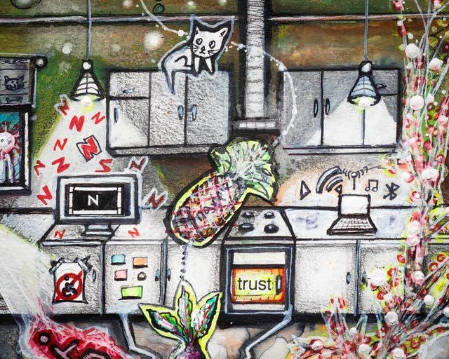 Artwork using watercolour and ink incorporating collaged words throughout the scene. The artwork shows a busy multi-coloured room with kitchen units in the background.  On a fridge with a no access sign and a wheelchair within it, stands a screen with the letter 'N'. Red 'N' letters float in the air around it. The oven has the word 'trust' on it, and on the worktop is a laptop with icons above it indicating it is playing music. In the foreground, a pineapple and a cat appear to float in the air.