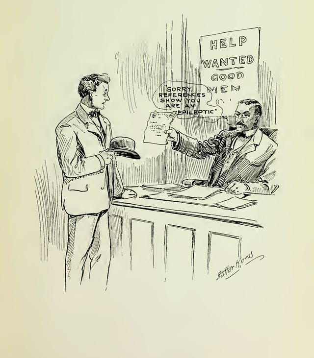 A drawing of an employer sat behind a desk showing a piece of pater to another man standing in front of the desk, hat in hand, a piece of paper.