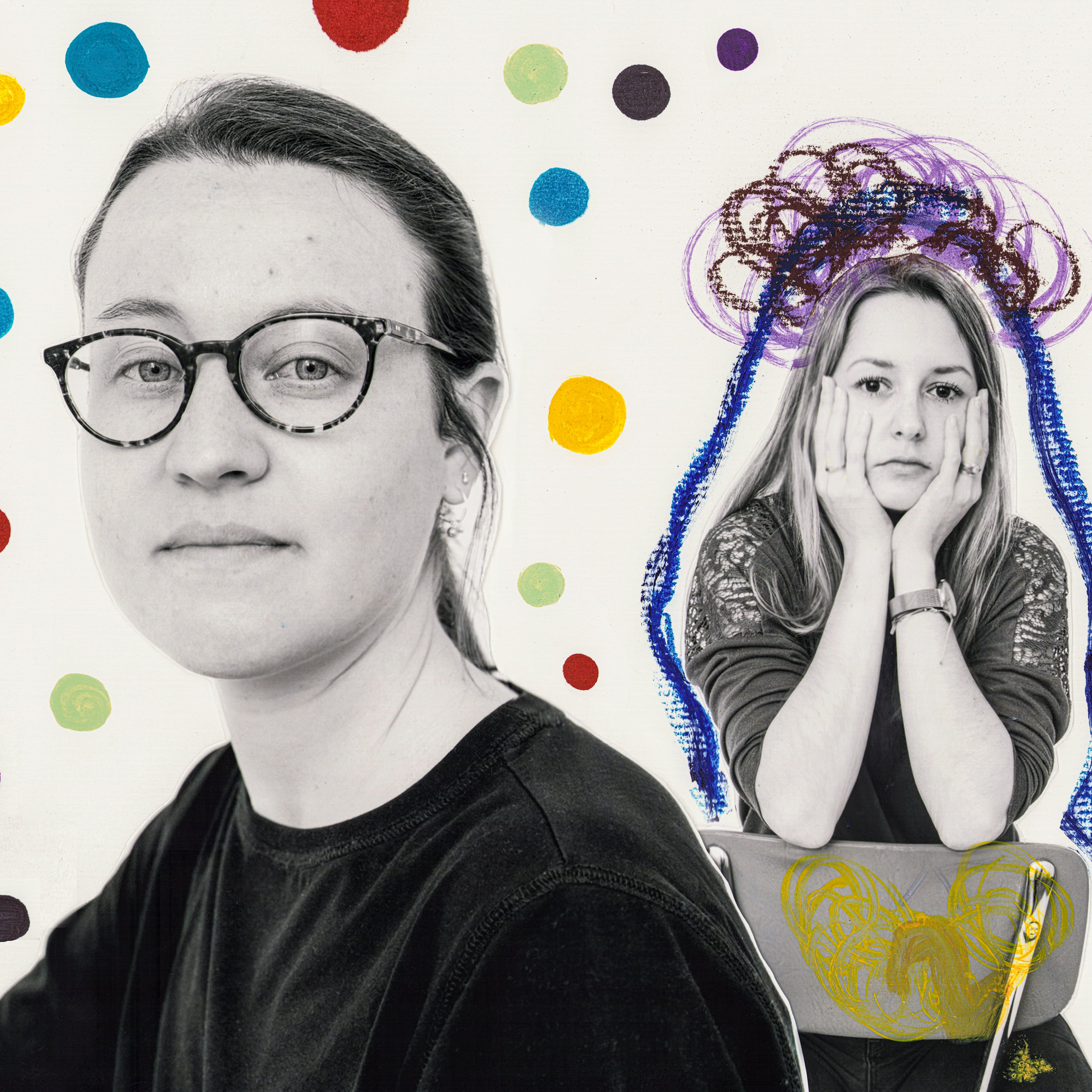 """Mixed media collage of four people, three female and one male, taken from various distances.  Surrounding them are various hand drawn doodles.  The closest person, to the left of the frame, is a woman wearing glasses, surrounded by colourful dots. Behind her a woman is sitting backwards on a chair with her head in her hands.  She has been outlined in blue and black pen and has an ominous cloud above her head.  Towards the center right the full body portrait of a man with his arms folded and staring at the camera.  A series of outlines surround his body, complete with a yellow mark drawn on his chest.  To the far right, the full body portrait a woman is framed by the handwritten words """"Not that much has changed"""" in purple marker pen."""