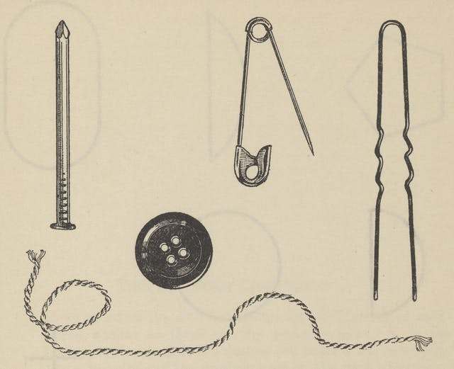 Black and white line drawing showing several objects including a button, a safety pin, a piece of string and a nail.