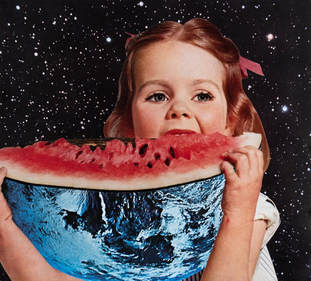Paper collage artwork of a large girl eating a watermelon, where the skin of the watermelon has been replaced with the planet earth, against a backdrop of stars.