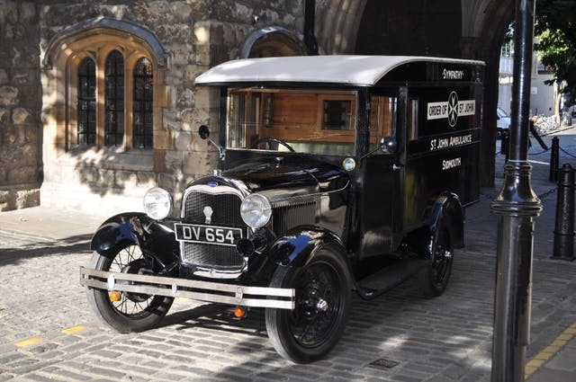 Photo of old-fashioned ambulance