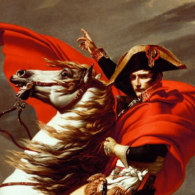 A military man in a red cloak sits astride a white horse, which is rearing up.