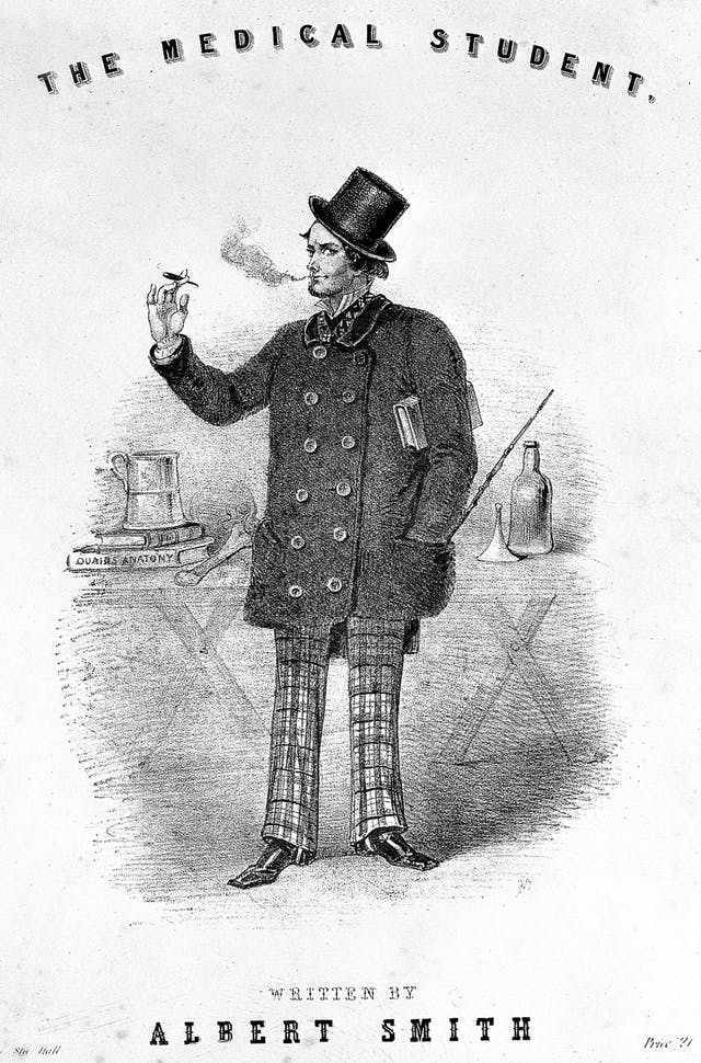 "Lithograph image depicting ""The Medical Student"" who is smoking, with a tankard and Quain"