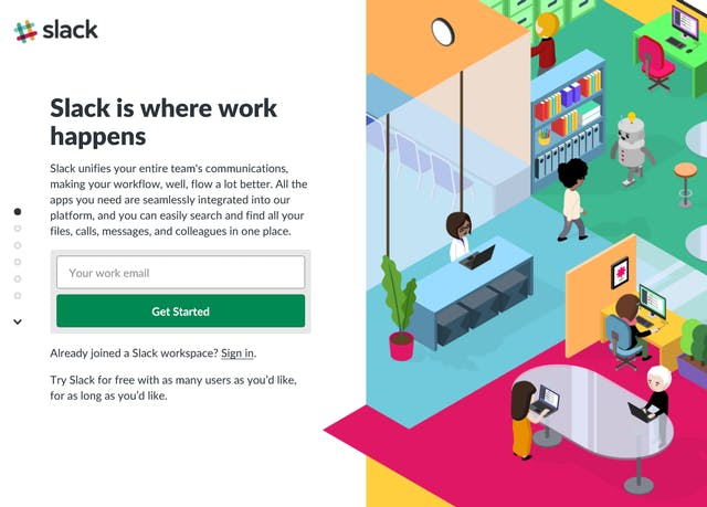 "Screengrab of the Slack webpage featuring the slogan ""Slack is where work happens"" and a picture of emoji-style people in an office."