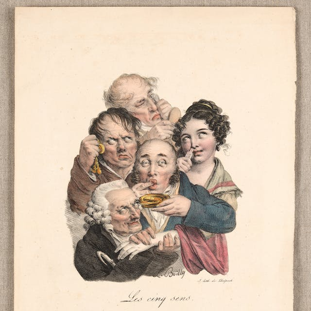 Image of four men and a woman experiencing making strange faces.