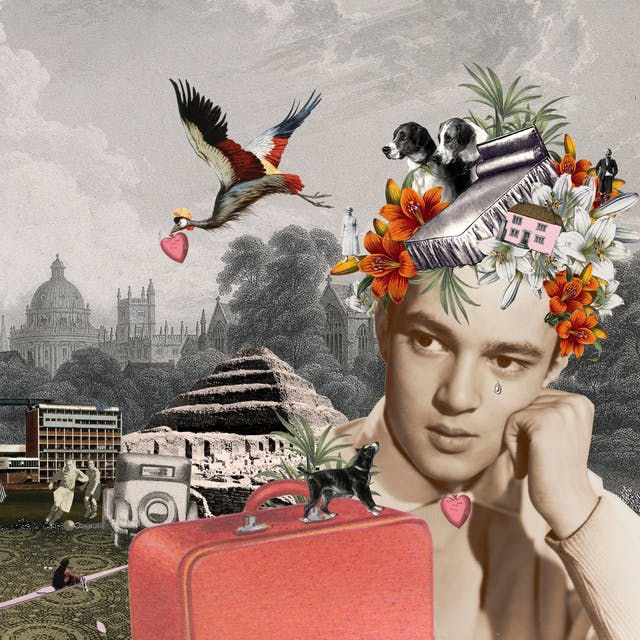 Artwork using collage.  The collaged elements are made up archive material which includes, vintage photographs, etchings, painted illustrations, lithographic prints and line drawings. This artwork depicts a man on the right hand side with his head resting on his hand. Forming a headdress on his head are pictures of a bed, two dogs, a house, flowers and an elderly man and woman. These elements are repeated on the left hand side much larger. In between the two sides is a rural and city skyline merged together. It the sky is an aeroplane and the planet Saturn and a large colourful bird in flight carrying a heart in its beak.