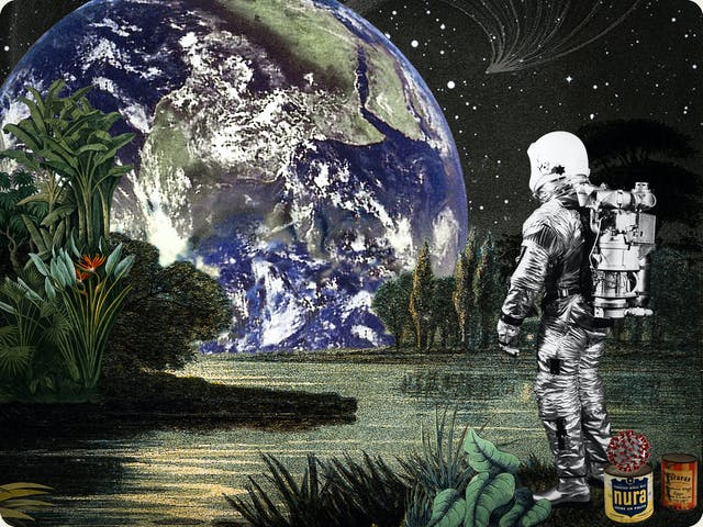 Artwork using collage. The collaged elements are made up of archive material which includes vintage and contemporary photographs, etchings, painted illustrations, lithographic prints and line drawings. This artwork depicts a scene with elements of outer space. In the background is a dark starry sky with a large blue and green planet Earth rising over horizon. In the middle distance on the left hand side is green foliage next to an expanse of lake-like water. In the foreground on the right hand side is a lone astronaut looking out across the water towards the rising Earth. At the feet of the astronauts are a couple of food cans, one with the words