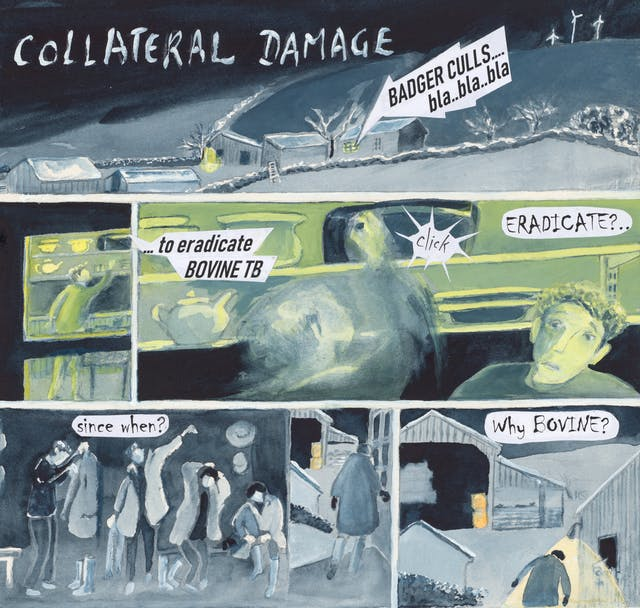 Watercolour comic set in a farm. Text reads: