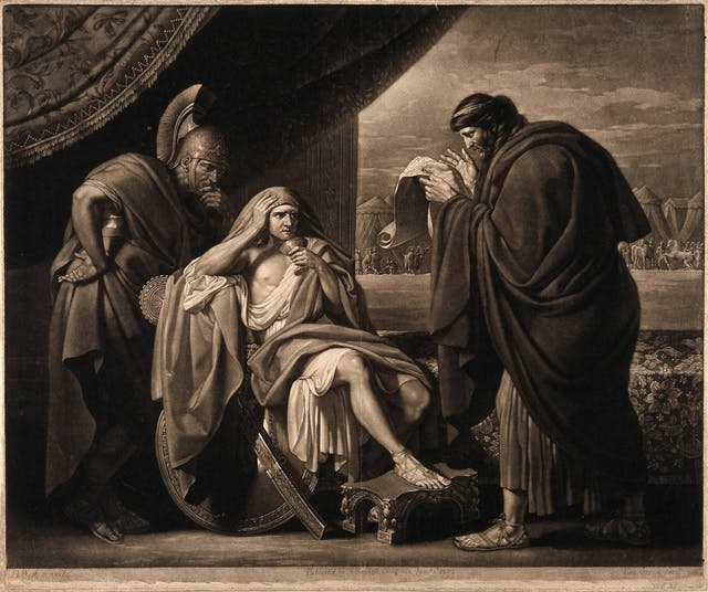The image shows Alexander the great accompanied by two men. One is his doctor who is reading a manuscript intently. Alexander the great is holding a cup of medicine and looks pensive about drinking it.
