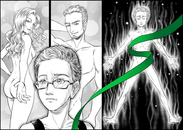 Illustration in the style of Manga graphic novels, showing two scenes. On the left is teh face of a young person wearing glasses. Behind them are two naked figures, one female, one male. On the right is the same young person, naked and full bodies, but looking thin. A green ribbon zig-zags over the body covering the chest and groin areas.