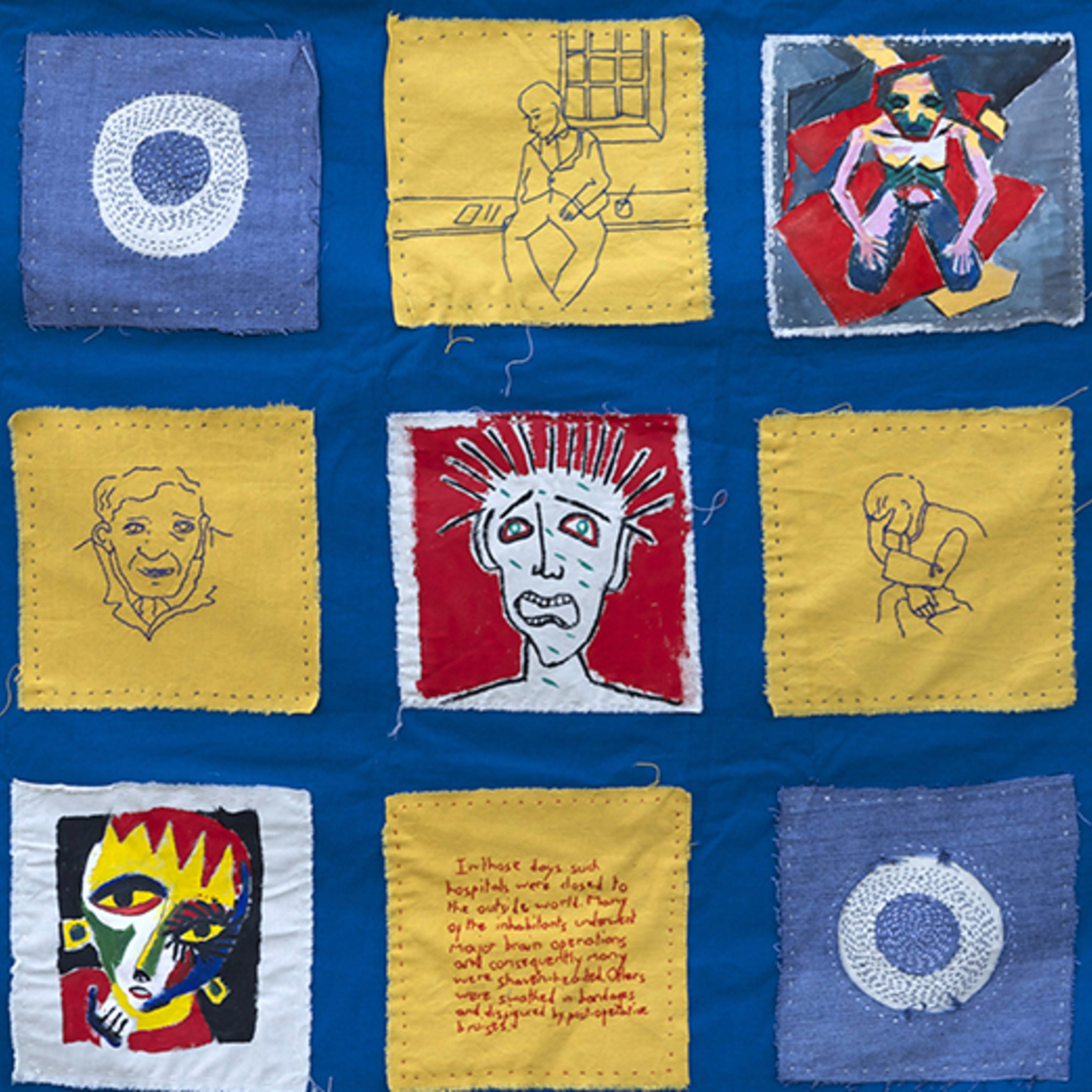 Wall hanging by Beth Hopkins, inspired by the the artworks of mental health patients