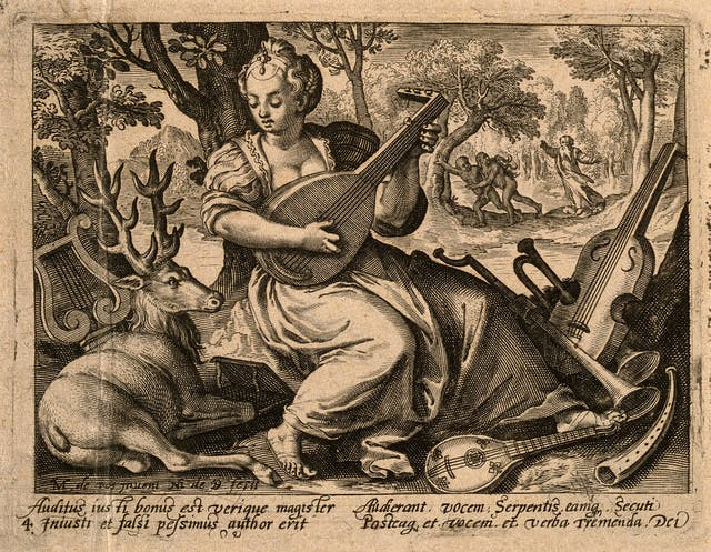 Bordered engraving of a woman and a stag in the woods, with lots of musical instruments