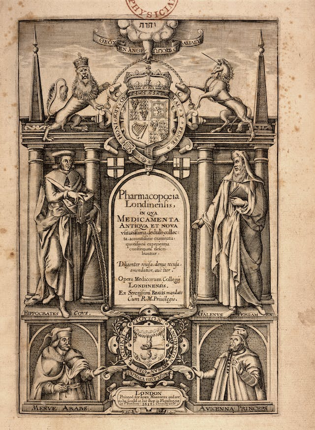 Title page from 1617 book Pharmacopoeia Londinensis showing engraved images of figures of Hippocrates, Galen, Avicenna and Masawaiyh below the crest of the Royal College of Physicians