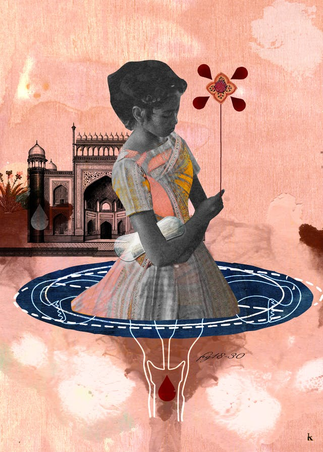 Mixed media digital collage on a pink textured fabric and watercolour background.  The black and white figure of a woman has a sanitary towel in hand is holding a flower shaped ballon.  The woman is placed in a puddle-like female reproductive system that has been spliced with a diagram of the moon,  An etching of a South Asian building is depicted in the background.
