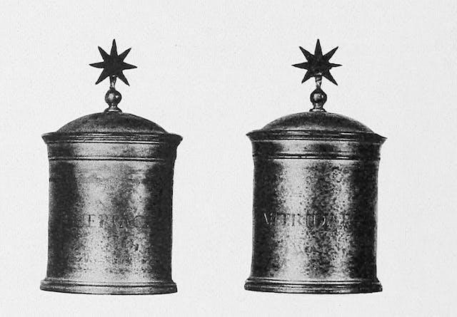 Pewter theriac jars