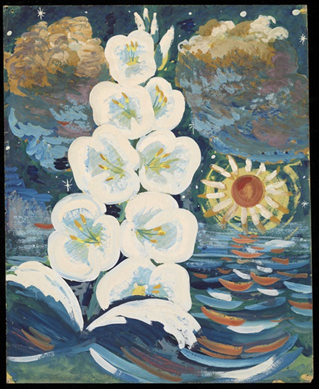 White flowrs in front of a seascape, painting by Ron Hampshire