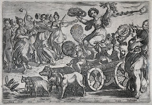 An etched illustration of a woman on a chariot drawn by farm animals, holding a wreath and flowers in her hands, surrounded by people playing musical instruments.