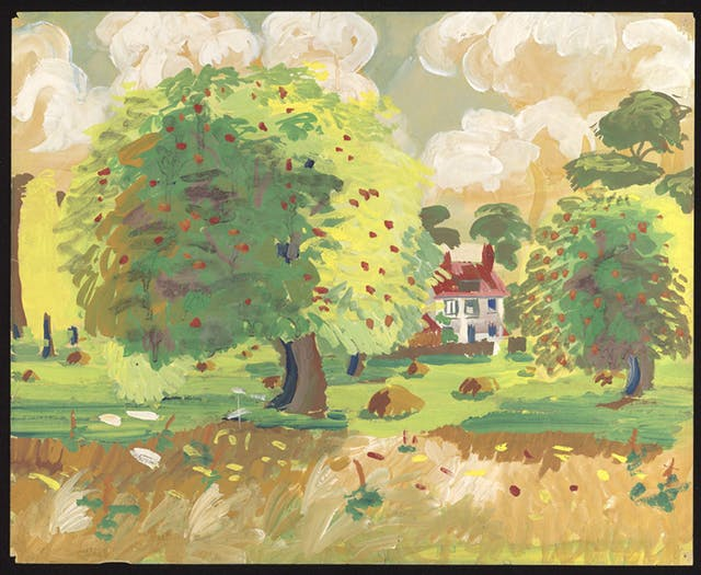 House with a red roof in a field of apple trees. Painting by Ron Hampshire