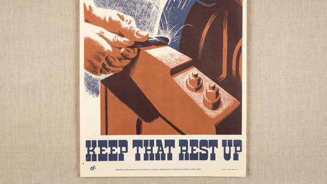 Print work of a pair of hands sharpening a rod on a lathe.