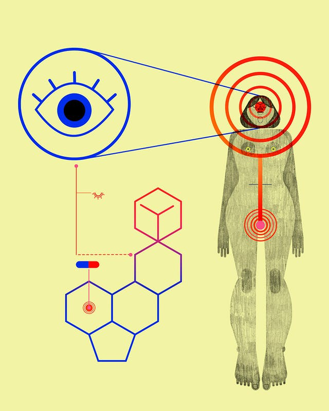 Illustration of woman, eye and chemical symbols representing the effect of taking LSD