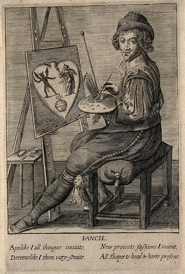Black and white engraving of a male artist sitting in front of an easel, with paints and paintbrushes in his hand.